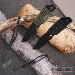 "7"" Camping Survival Firestarter BLACK THROWING KNIFE FULL TANG Paracord Wrapped"