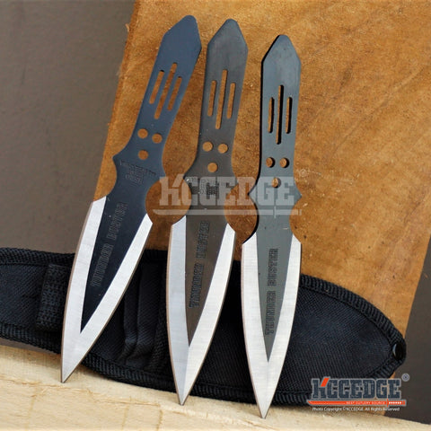 "3PC 6.5"" FLASH NINJA THROWERS 2 Colors Tactical Throwing Knife Set w/Sheath Outdoor Double Edged KUNAI NURATO RAZOR"