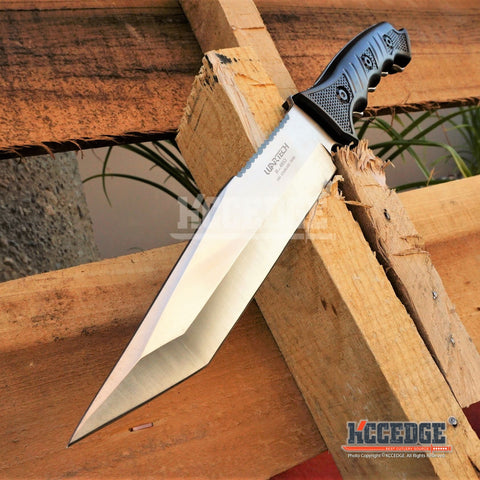 "3 Colors 13.5"" WARTECH RAMBO KNIFE Tactical Combat Bowie Fixed Blade w/ Backside Serrated TANTO BLADE + Sheath"