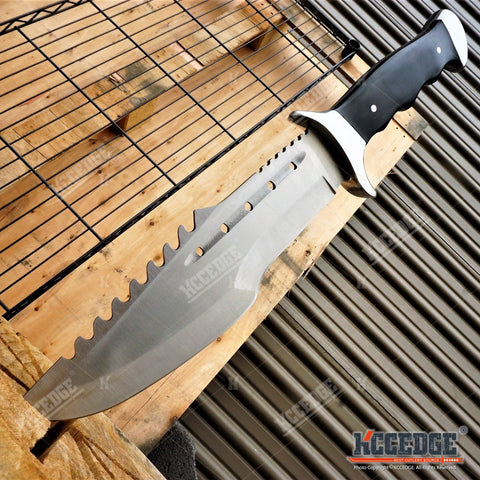 "OUTDOOR 15"" FULL TANG FIXED BLADE SURVIVAL RESCUE HUNTING CAMPING BOWIE KNIFE"