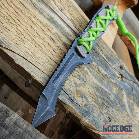 "4 Types 9"" MILSPEC BIO COMBAT Survival Stonewash FIXED BLADE KNIFE Neon Green Paracord Wrapped G-10 Handle Hunting"
