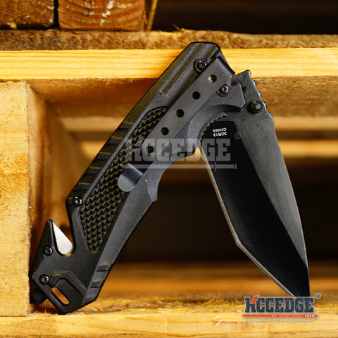 "8 1/8"" Tanto Point Blade Tactical Stainless Steel Pocket Knife w/ Glass Breaker"