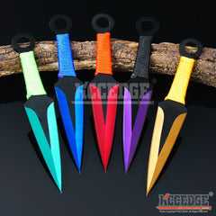 "3PC 6.5"" Technicolor Zombie Throwing Knife Set w/ Sheath Ninja Kunai Survival"