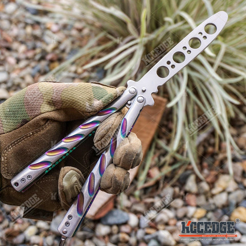 "DULL 9.25"" CS GO Butterfly Knife Balisong Trainer Practice Tool Stainless Steel"
