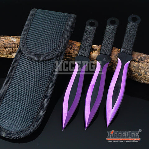 "3PC 6.5"" Ninja Kunai Biohazard Tactical Technicolor Throwing Knife Set w/ Sheath"