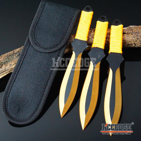 "3PC 6.75"" Ninja Kunai Outdoor Technicolor Tactical Throwing Knife Set w/Sheath"