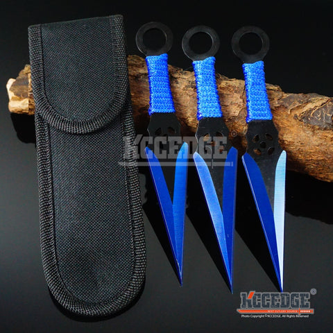 "3PC 6.5"" Bullseye Survival Throwers Technicolor Kunai Throwing Knife Set +Sheath"