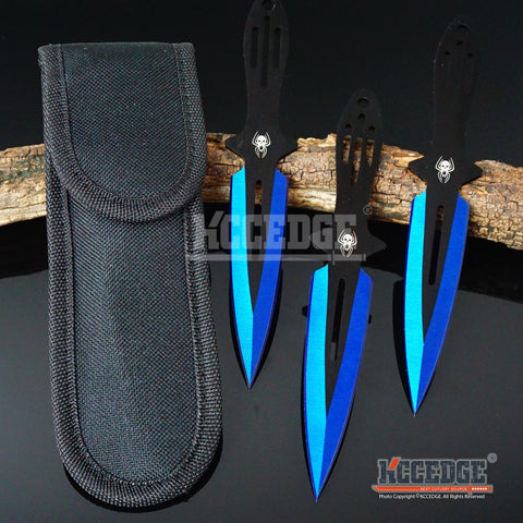 "3PC 6.5"" Combat Spider Thrower Technicolor Outdoor Throwing Knife Set w/Sheath"