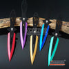 "Image of 3PC 6.5"" Combat Spider Thrower Technicolor Outdoor Throwing Knife Set w/Sheath"