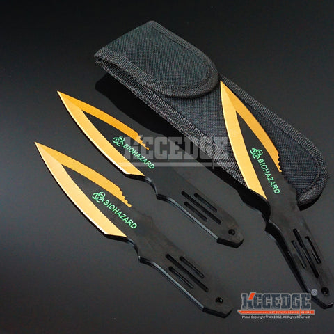 "3PC 6.5"" Biohazard Technicolor High Impact Survival Throwing Knife Set w/Sheath"