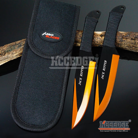 "2PC 9"" Jack Ripper High Impact Throwing Knife Set with Sheath Ninja Kunai Combat Technicolor Sharp Throwers Outdoor Throwing 5 COLORS TO CHOOSE"