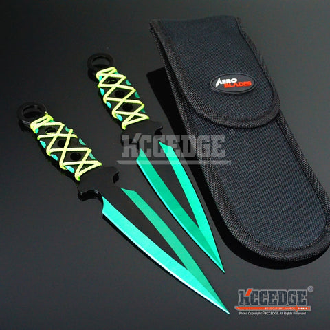 "2PC 9"" Throwing Knife Set Double Edged Blade Sharp Tip Point  with Sheath Survival Technicolor High Impact Outdoor Throwers Cord Wrapped Handles w/ Finger Hole"
