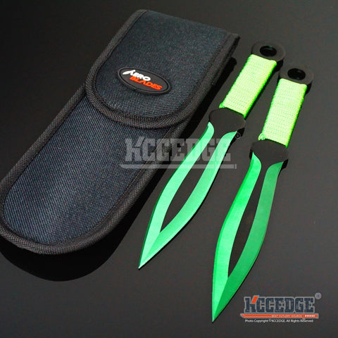 "2PC 9"" SUPER SHARP Tip Point Throwing Knife Set with Sheath Ninja Kunai Combat Technicolor High Impact Throwers Outdoor Nylon Cord Wrapped Handles w/ Finger Hole"