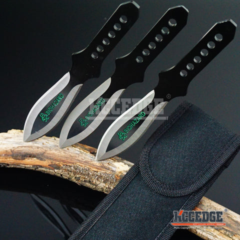 "3PC 6.5"" Throwing Knife Set with Sheath Ninja Kunai Survival Combat Technicolor"