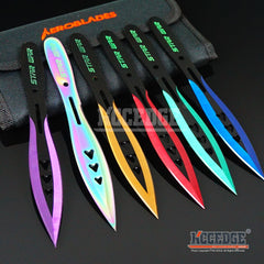 "6PC 6.75"" STAR WAR Super Sharp Assorted Technicolor Throwing Knife Set +Sheath"
