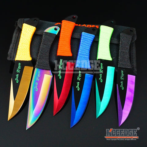 "6PC 6.75"" Jack Ripper Assorted Technicolor Throwers Throwing Knife Set w/Sheath"
