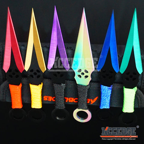 "6PC 6.5""  Combat Ninja Kunai Assorted Technicolor Throwing Knife Set +Sheath"