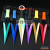 "Image of 6PC 6.5""  Combat Ninja Kunai Assorted Technicolor Throwing Knife Set +Sheath"