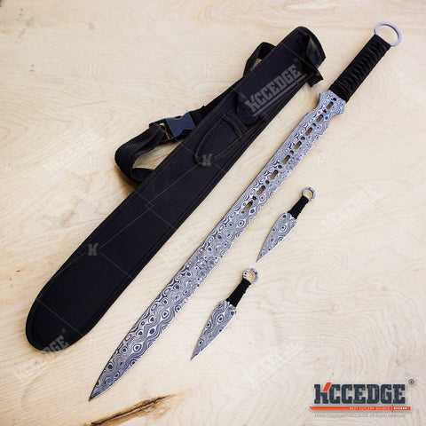 "27"" DAMASCUS ETCHED Full Tang Katana Sword w/ 2 Throwing Knives"