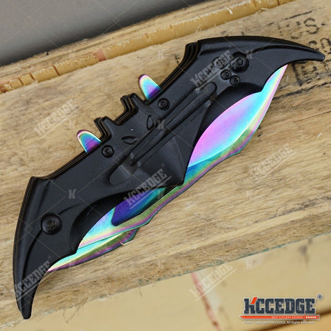 Batman Dark Knight Bat Spring Assisted Open Folding Double Blade Dual Twin 3 Colors Pocket Knife Tactical Belt Clip
