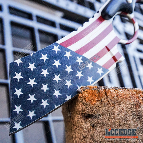 2PC CLEAVER Style Patriotic American Flag FIXED Knife + Black/Blue TANTO CLEAVER