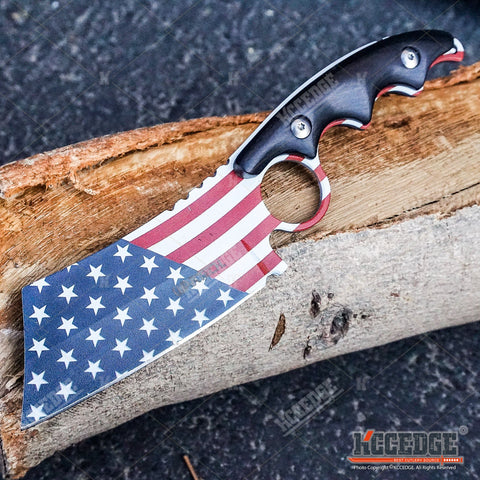 2PC Patriotic American Flag FIXED CLEAVER + Black w/ Red Folding Pocket CLEAVER