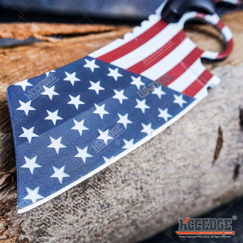 "3PC COMBO FIXED US FLAG CLEAVER + BLACK Mini CLEAVER + ""We The People"" Knife"