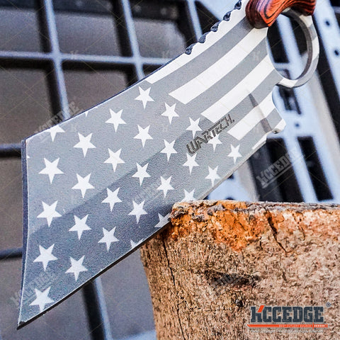 4PC US Flag FIXED CLEAVER + Damascus Cleaver + SHAVER CLEAVER + Tanto CLEAVER
