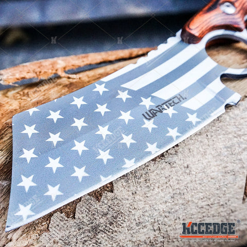 2PC CLEAVER Chrome American Flag FIXED Knife + BUCKSHOT Damascus Etched CLEAVER