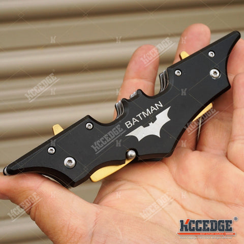 "11"" BATMAN DUAL BLADE POCKET KNIFE Tactical Assisted Open DARK NIGHT RISES Hunting Camping EDC Razor Blade"