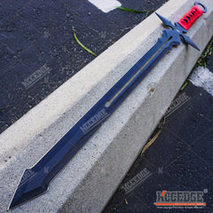 "27"" MEDIEVAL Full Tang FIXED BLADE Black FANTASY Renaissance SHORT SWORD"