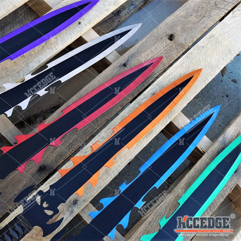 "28.5"" DARK DEMON SWORD Technicolor KATANA DUAL BLADE Japanese Throwing Knife"