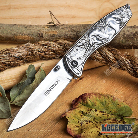 "8"" Fantasy UNICORN POCKET FOLDING RAZOR KNIFE Outdoor Camping Hiking 5 COLORS"