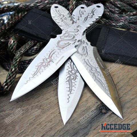 "3PC 6.5"" Dragon Etched Throwing Knife Set with Sheath Ninja Kunai Combat Sharp Throwers Outdoor Throwing 3 TYPES TO CHOOSE"