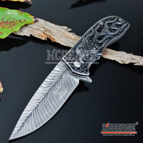 "4 COLORS 8.25"" 3MM COMBAT HUNTING ACID ETCHED Razor Blade FLAMING EAGLE Assisted Open Pocket Folding Knife"