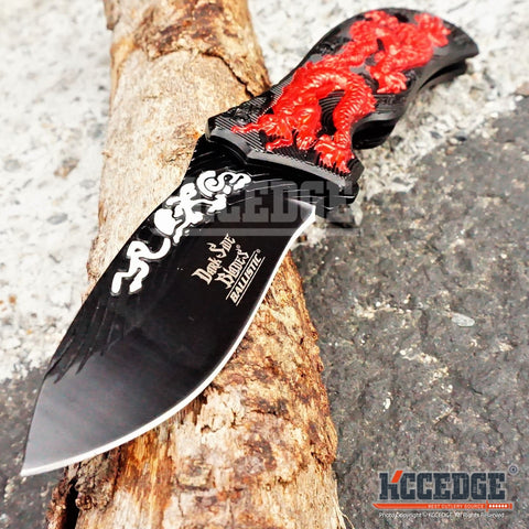 "6 COLORS 8.2"" 3MM HUNTING COMBAT ASSISTED OPEN DRAGON DROP POINT Blade Handle Folding Knife"