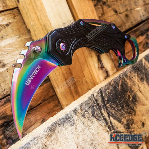 "Spring Assisted 7"" KARAMBIT STYLE Pocket Knife Aluminum Handle Folding Razor"