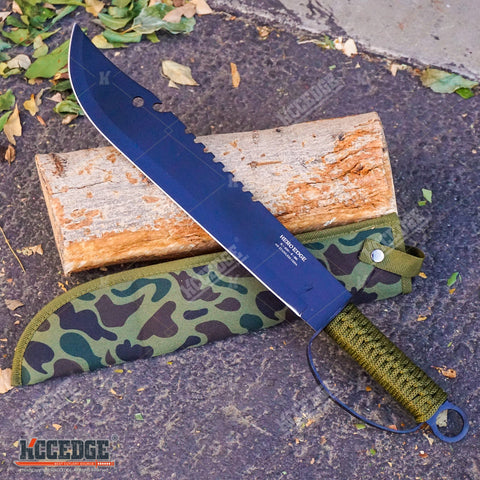 "19.5"" HUNTERS CHOPPING SWORD Sawback Fixed Blade Machete Knuckle-Bow Guard"