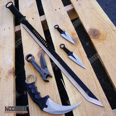 3PC Set Ninja Sword w/2 Throwing Knives + Karambit + Wrench Multi-Tool Knife