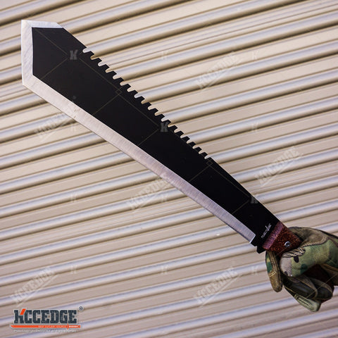 "20"" Outdoor Survive Hunting Machete Hatchet Camping Ninja Sword PAKKAWOOD HANDLE"