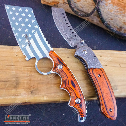 2PC COMBO Chrome American Flag FIXED CLEAVER + Damascus Etched SHAVER CLEAVER