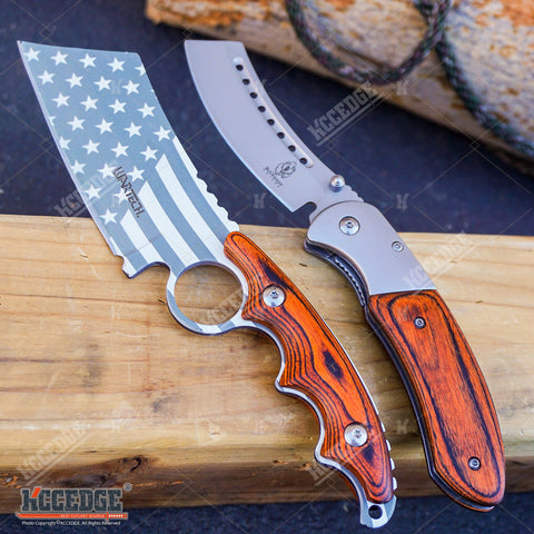2PC COMBO Chrome American Flag FIXED CLEAVER + Chrome/Wood SHAVER STYLE CLEAVER