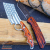 Image of 2PC COMBO Chrome American Flag FIXED CLEAVER + Damascus Etched TANTO CLEAVER
