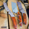 Image of 3PC US Flag FIXED CLEAVER + Damascus Etched CLEAVER + SHAVER Style CLEAVER