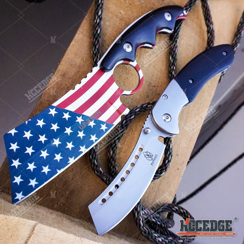 2PC Patriotic American Flag FIXED CLEAVER + Black SHAVER STYLE CLEAVER