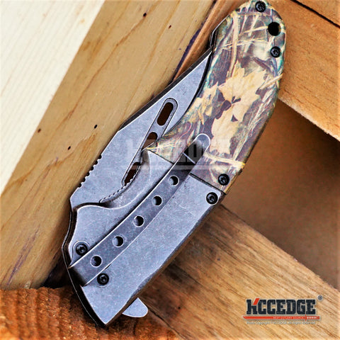 "4 COLORS 8.5"" 3.5MM HUNTING FISHING STONEWASHED BLADE Assisted Open Outdoor Camo Pocket Folding Knife w/Acid Etched Deer Bolster"