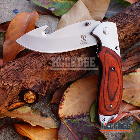 "4PC COMBO 8"" CAMPING HUNTING GUT HOOK Blade Assisted Open EDC Knife"