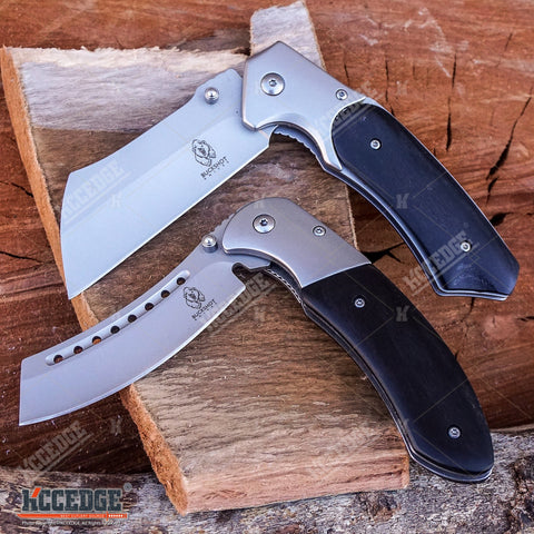 2PC Black Set BUCKSHOT CLEAVER + BUCKSHOT CLEAVER SHAVER STYLE Folding Knife
