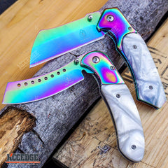 2 PC Pearlized Rainbow Set BUCKSHOT CLEAVER + CLEAVER SHAVER STYLE Blade