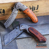 Image of 2PC Damascus Etched BUCKSHOT Set CLEAVER RAZOR Blade + SHAVER STYLE CLEAVER